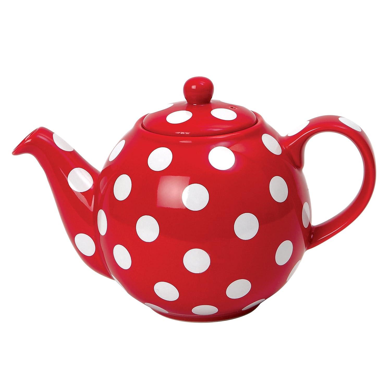London Pottery Globe Teekanne f?r 6 Tassen rot mit wei?en Punkten 17267650