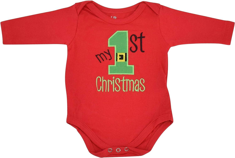 Unique Baby Unisex My 1st Christmas Onesie Outfit Santa Layette Set