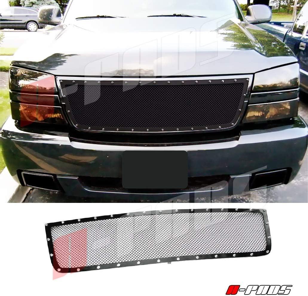 Fits 2006 Chevy Silverado 1500//05-06 2500//3500 Rivet Black Mesh Grille Insert