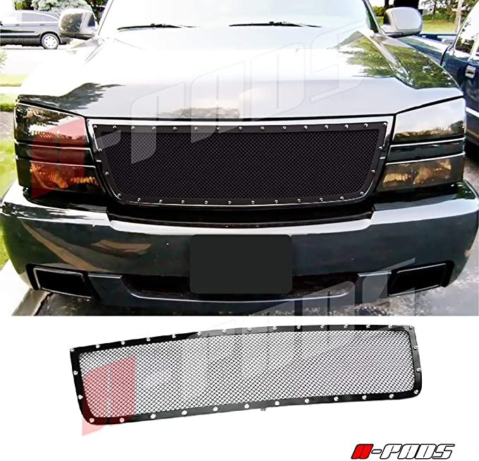For Silverado 1500 2006 2500+3500 2005-06 Black Mesh Rivets Grille 2PC OVERLAYS