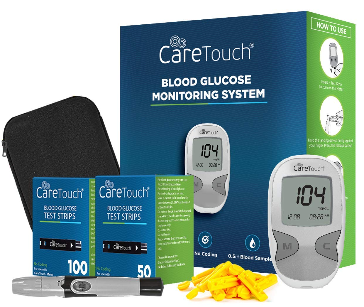Amazon.com: Care Touch Diabetes Testing Kit – Care Touch Blood Glucose  Meter, 150 Blood Test Strips, 1 Lancing Device, 30 Gauge Lancets-with  Carrying Case: ...