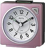 リズム時計 目覚まし時計 アナログ 小さい かわいい デイリーRA27 連続秒針 ライト 付き カラフル 時計 ピンク DAILY (デイリー) 8REA27DN13