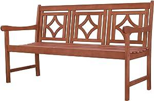 Vifah Versailles Diamond Rustic Eucalyptus Wooden Bench for 3 Seater in Entry Way, Porch, Balcony, Deck, Garden, Patio, Backyard, Outdoor Seating, 500 lbs Capacity, 5Ft, Red Brown