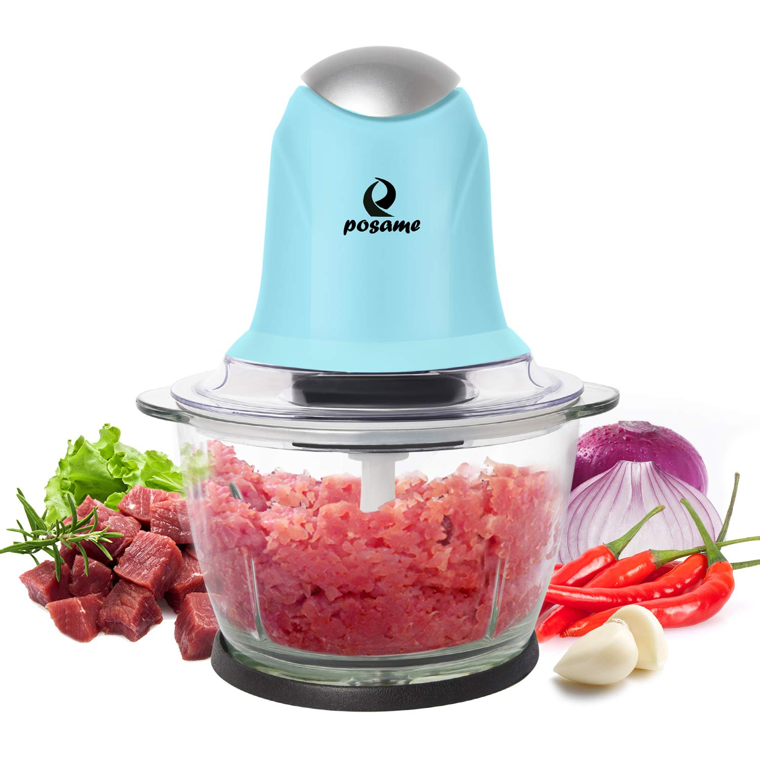 POSAME Meat Grinders Electric Food Processor,Mini Kitchen Food Chopper  Vegetable Fruit Cutter Onion Slicer Dicer, Blender and Mincer, with 4-Cup  Glass