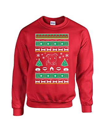 ugly christmas sweater pitbull dog design ttd15 adult sweatshirt s red