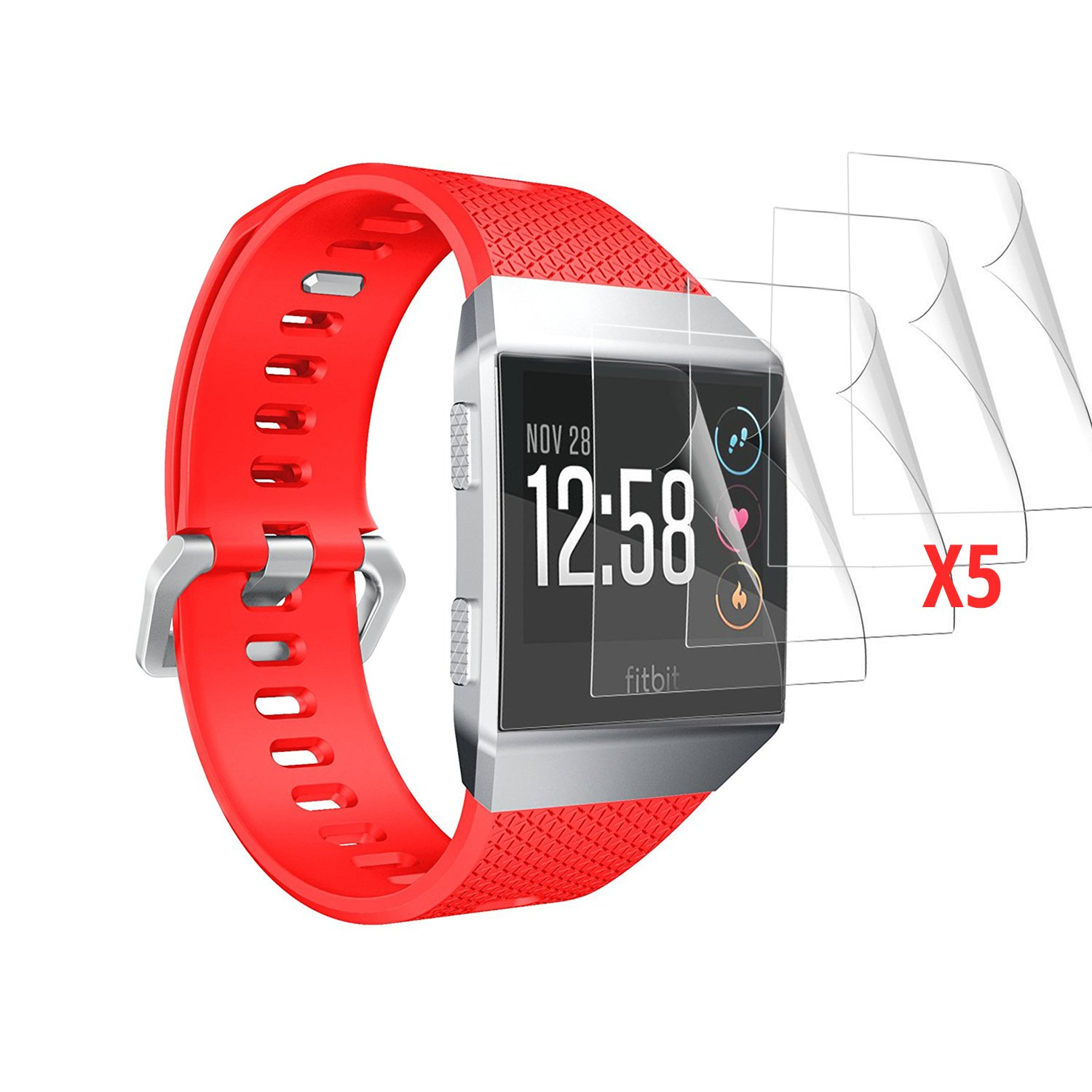 Orzly 5x Watch Screen Protectors for FitBit Ionic (2017 SmartWatch Model) - Multi-Pack of 5 Transparent Screen Guards for Fitbit Ionic