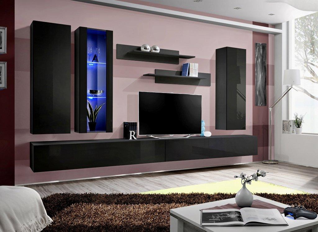 BMF Fly F Modern Hochglanz Wohnzimmer/Schlafzimmer/Studio flach–Möbel Set–Wohnwand TV Ständer/LED Schränke & Regale ALPHA BLACK