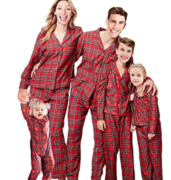 christmas family matching pajamas pjs set plaid christmas pajama set for family 2t kids