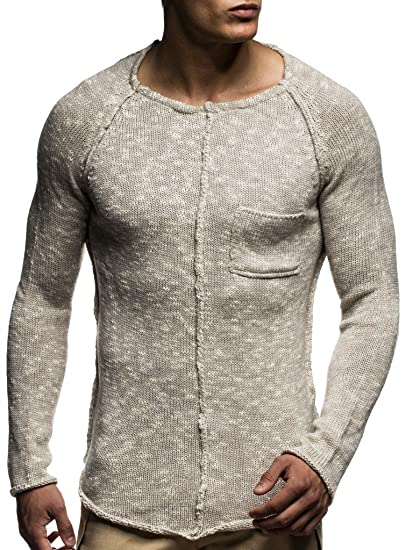 587d13cc59590 LEIF NELSON pour des Hommes Pullover Pull en Tricot Hoodie Basic col Rond  Crew Neck Sweatshirt Manche Longue Sweater Feinstrick LN20716  Taille XXL,   ...
