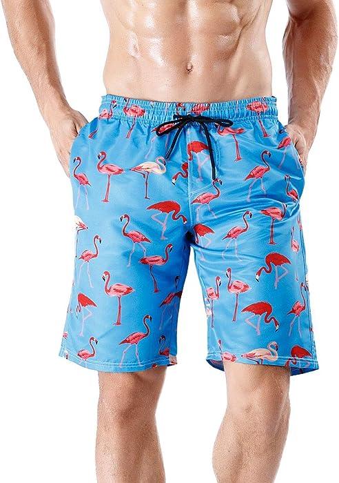 a0d2fc3e969 Wiarapa Herren Badehose Sommer Badeshorts 3D Print Freizeit Short  Schnelltrocknend Schwimmhose Board Shorts Flamingo M