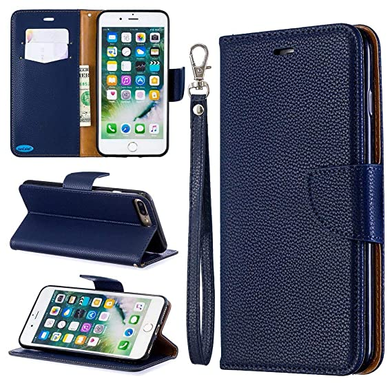 separation shoes 5400d 414eb JanCalm for Men Women iPhone 7 Plus Case iPhone 8 Plus Case PU Leather  Wallet Protection [Card Holder/Cash Slots] [Wrist Strap] Stand Flip  Magnetic ...