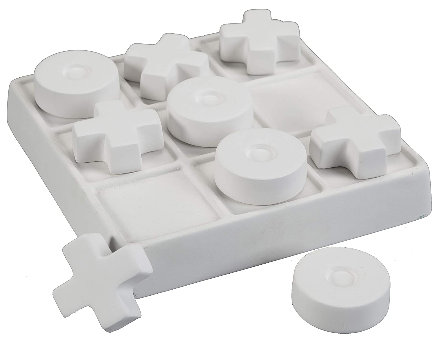 Creative Hobbies Small Tic Tac Toe Set, Case of 6, Unfinished Ceramic Bisque, with How to Paint Your Own Pottery Booklet
