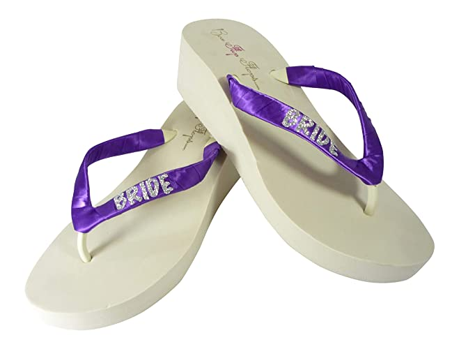 b595be1e7786 Amazon.com  Purple Glitter Bride Flip Flops in Ivory or White Wedge Heel   Handmade