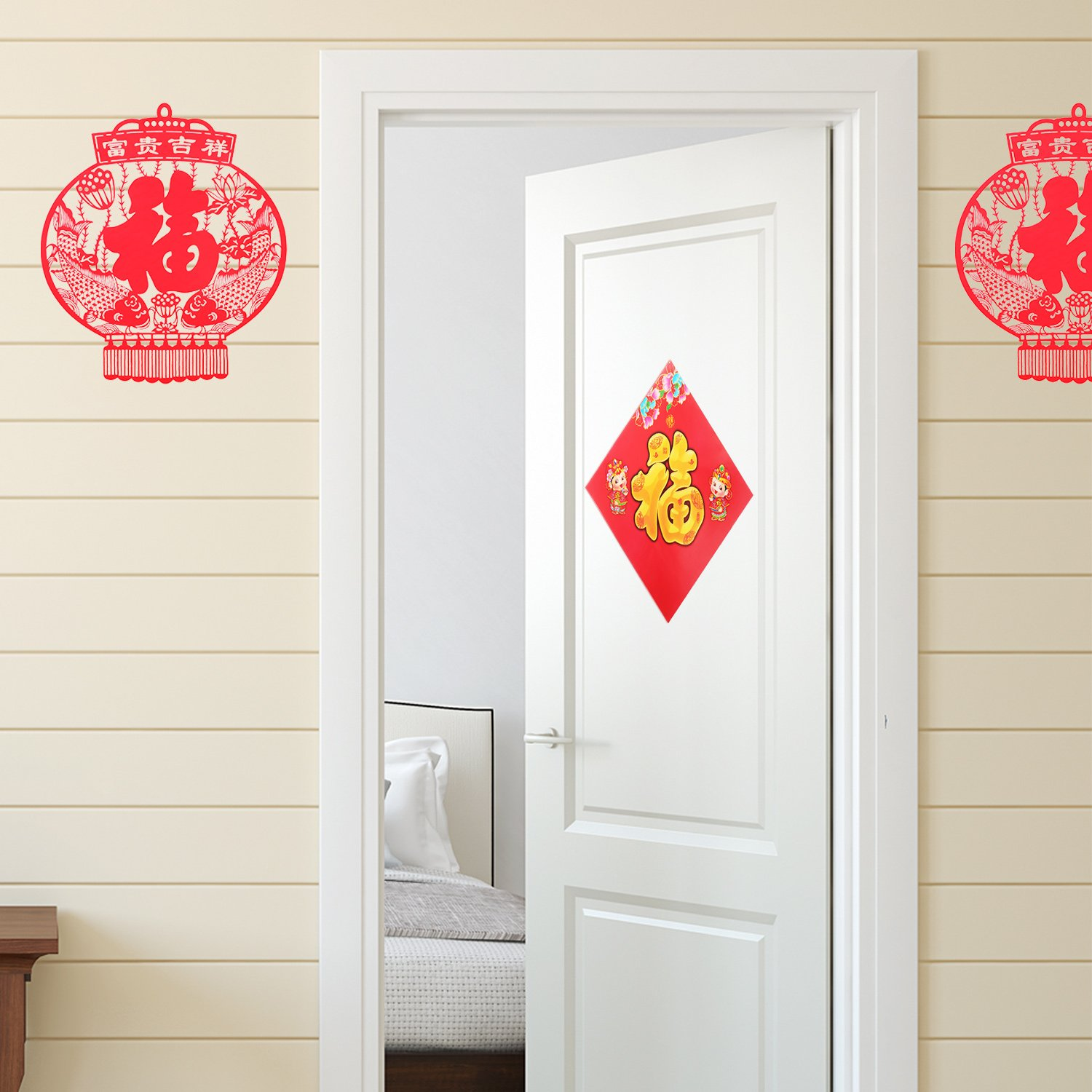 Mtlee Chinese Couplet Decorative Gift Kit for 2019 Chinese New Year Spring Festival, Includes Chun Lian, Fu Characters, Chinese Fu Stickers, Door Stickers, Red Envelopes, FU Bag (Set of 27 Pieces) by Mtlee (Image #5)