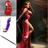 TENGS Long Wavy Copper Red Halloween Cosplay Women Wig