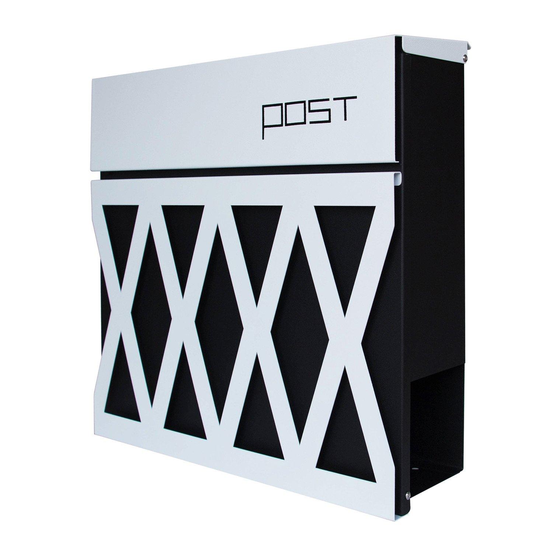 LZQ Neu Typ Zeitlosem Design Edelstahl Briefkasten Anthrazit Wandbriefkasten mit Zeitungsfach Modell J mit Sichtfenstern A4 Einwurf-Format Abschlie/ßbar