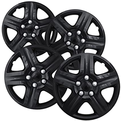 Hubcaps 16 inch Wheel Covers - (Set of 4) Hub Caps for 16in Wheels Rim Cover - Car Accessories Ice Black Hubcap Best for 16inch Cars Standard Steel Rims ...