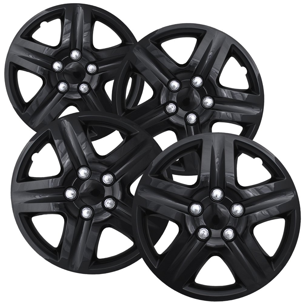 Hubcaps for 16 inch Standard Steel Wheels (Pack of 4) Wheel Covers - Snap On, Ice Black