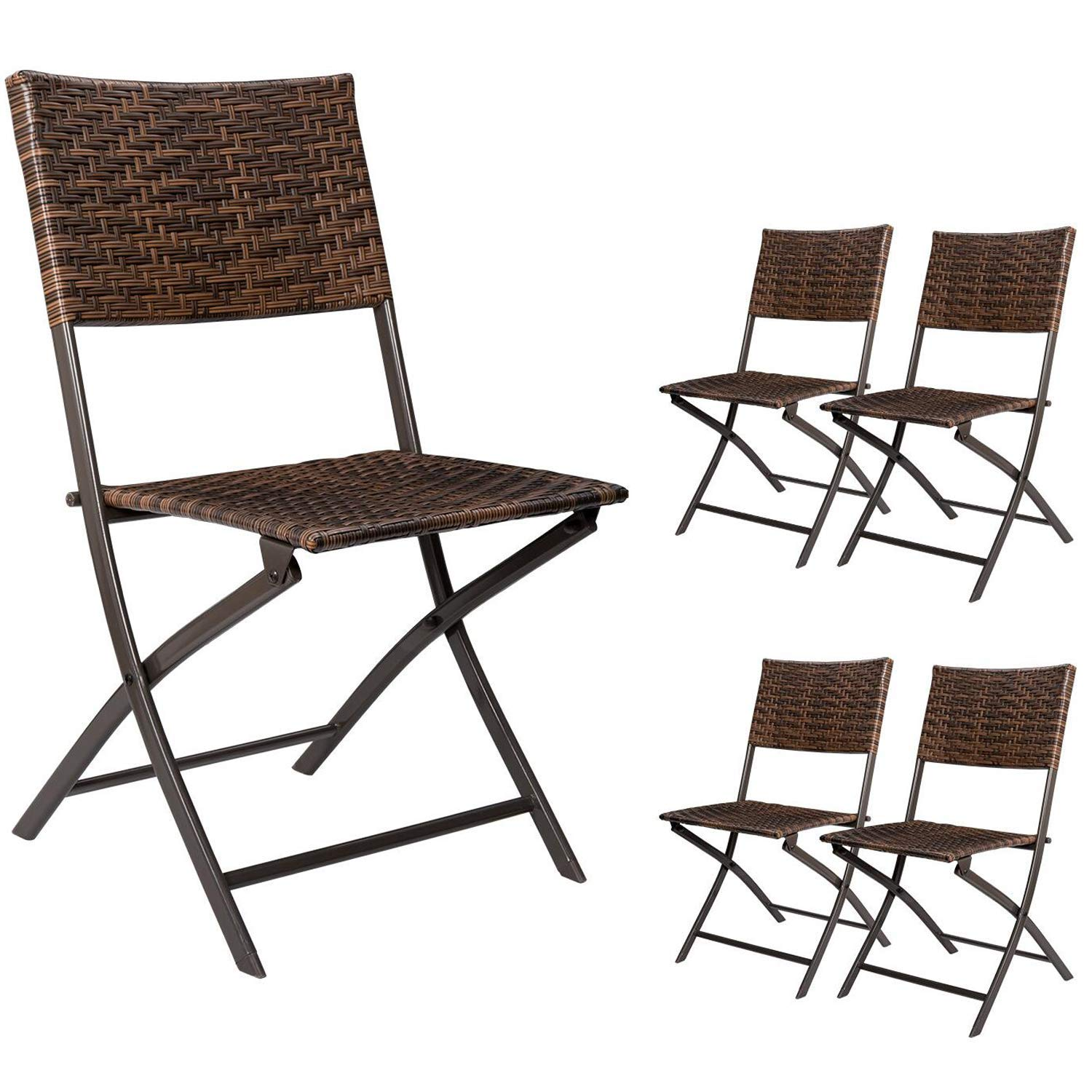 Devoko Rattan Patio Dining Chair 4 Pieces Space Saving Deck Camping Chairs Garden Pool Beach Lawn Using Outdoor Folding Chair (Brown)