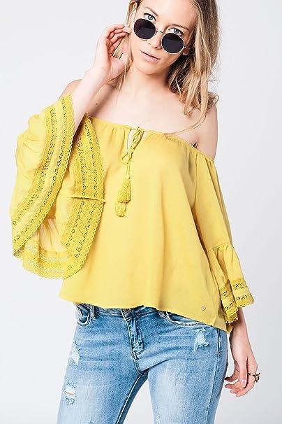 Q2 Mujer Blusa amarilla con detalle de crochet - S