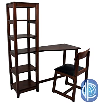 Amazoncom Wallaston Wood Desk and Chair Combo Attached