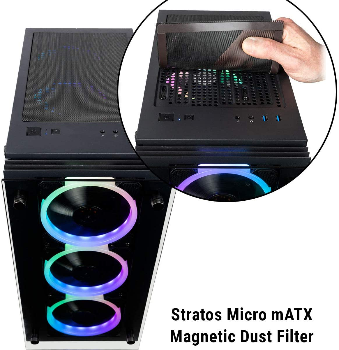 CUK Micro Continuum mATX Gaming Desktop Case with Tempered Glass Door 6 Addressable RGB Lotus Fans Pre-Installed, Remote Controller, Motherboard Sync