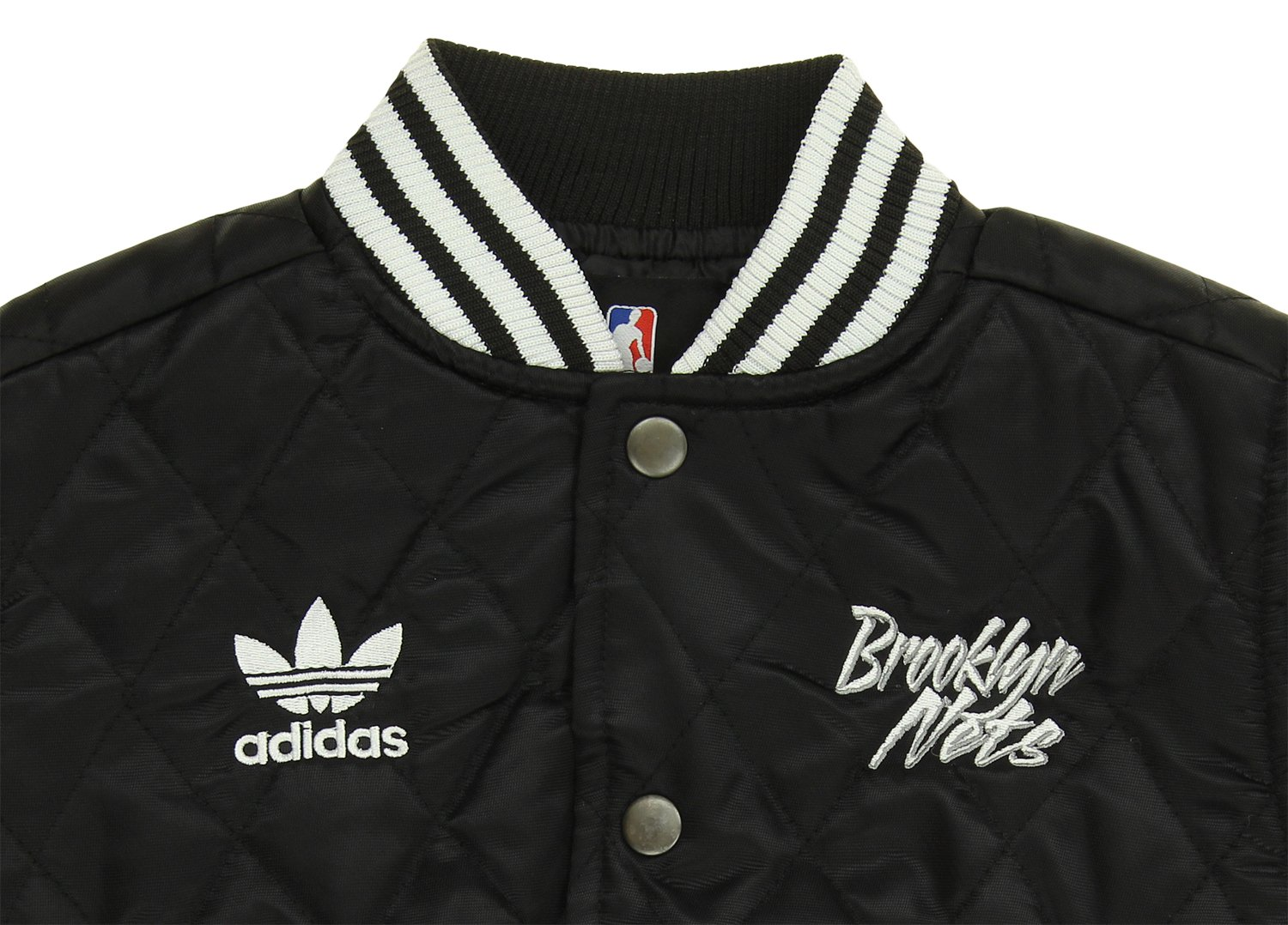 Black Adidas NBA Toddlers Brooklyn Nets Quilted Satin Snap Front Jacket