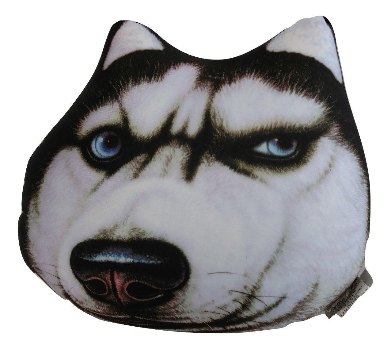 Tache Home Fashion DOGPILLOW-SERIOUS Serious Husky Cute Dog Micro Bead Realistic Throw Pillow, Multicolor