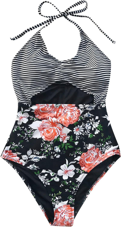 CUPSHE Women's Secret Fragrance Print Halter One-Piece Swimsuit Beach Swimwear