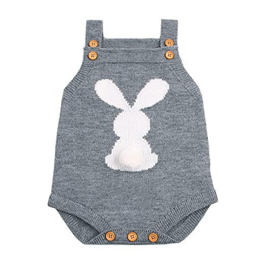 6b1929d7843b ITFABS Baby Boy Girls Romper Knitted Cute Cartoon Bunny Jumpsuit Baby Kids Girl  Romper Straps Bodysuit