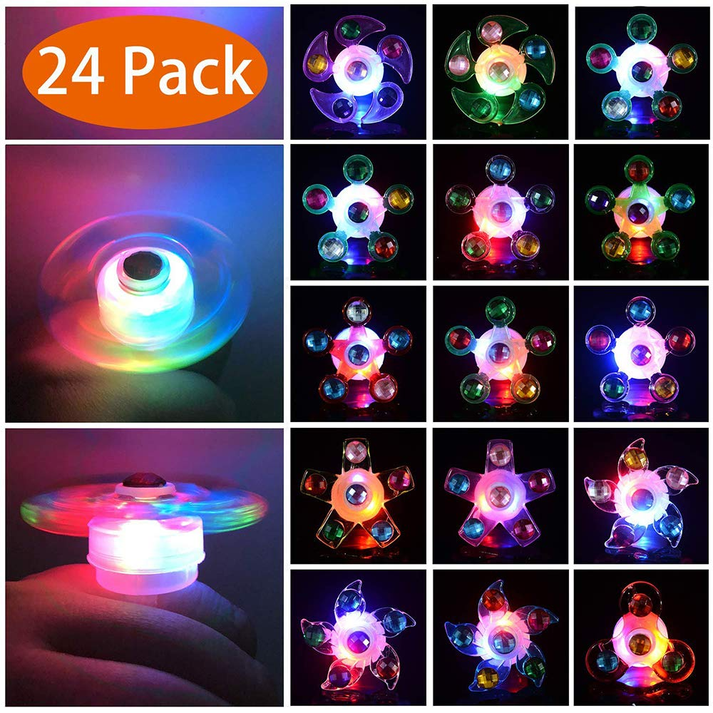 Party Surplies Favors for Kids, GZCY LED Light Up Rings Prizes for Kids Classroom Bulk Hand Spin Stress Relief Anxiety Toys for Classroom Birthday Celebration