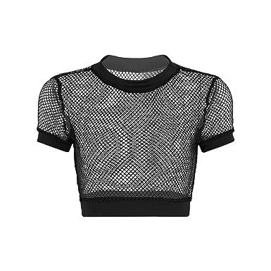 d9550247d4c63 dPois Femme Top à Manche Longue Court Haut Court Transparent T-Shirt  Chemise Chemiser Blouse