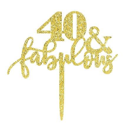 Amazon 40 Fabulous Cake Topper Glitter Gold 40th Birthday