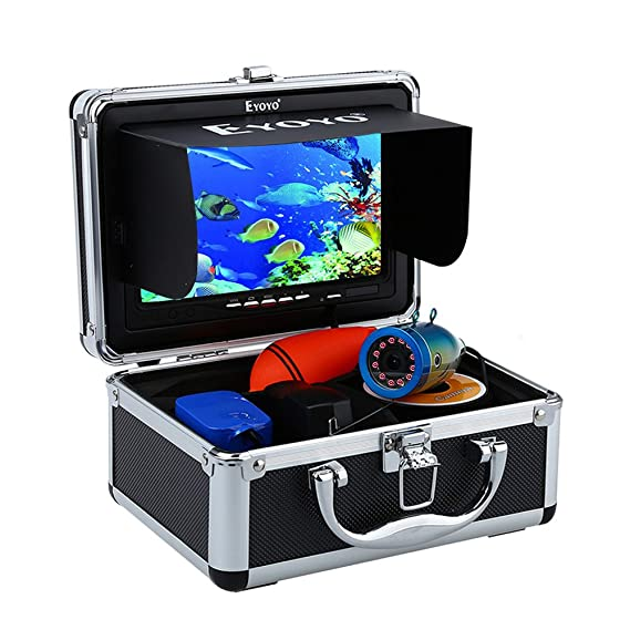 Eyoyo Portable 7 inch LCD Monitor Fish Finder Waterproof Underwater HD 1000TVL Fishing Camera 30m Cable 12pcs IR Infrared LED for Ice,Lake and Boat Fishing