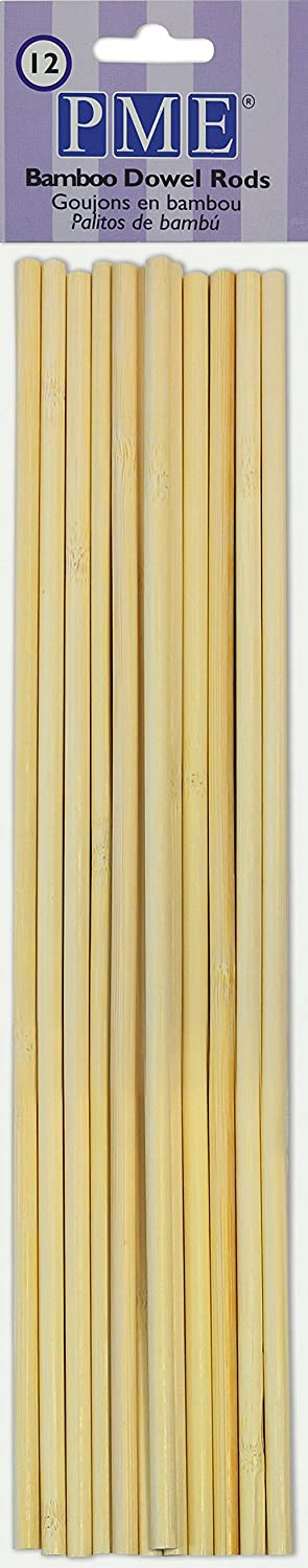 PME DR1007 Bamboo Dowel Rods for Cake Construction Standard Brown