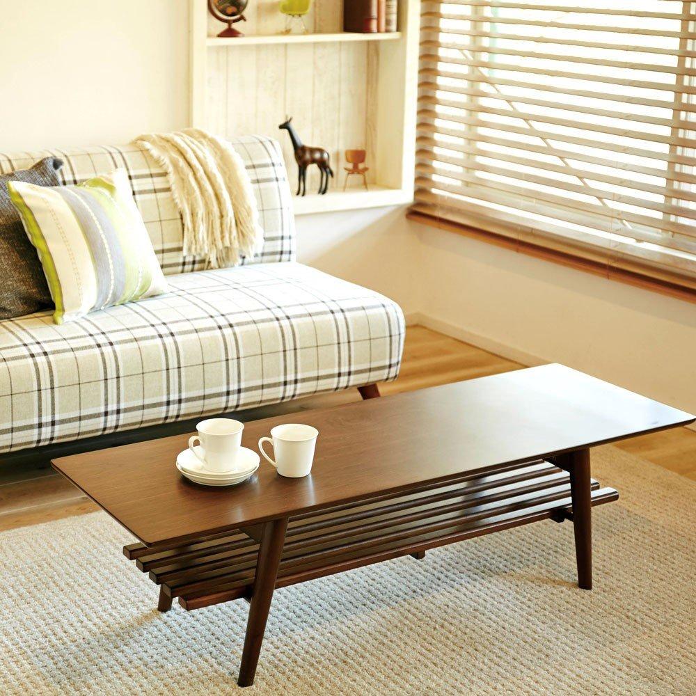 インテリア リビング 家具 棚 もついているので 簡単な 収納 にも ナチュラル な インテリアテーブル 折れ脚テーブル 幅120 ナチュラル B00TEPB0DS
