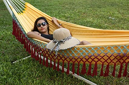 HANG IT The Hammock Store South American XL Garden Hammock with Color Fringes
