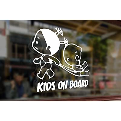 25 Centimeters Kids on Board Childrens Baby Girls Vinyl Stickers Funny Decals Bumper Car Auto Computer Laptop Wall Window Glass Skateboard Snowboard: Toys & Games