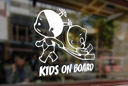 "KIDS ON BOARD Window Decal//Sticker Yellow 5.5/""H"