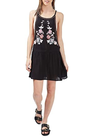 Top Shop Topshop Sleeveless Floral Embroidered Tunic Sundress With Open Sides For Women In Black,