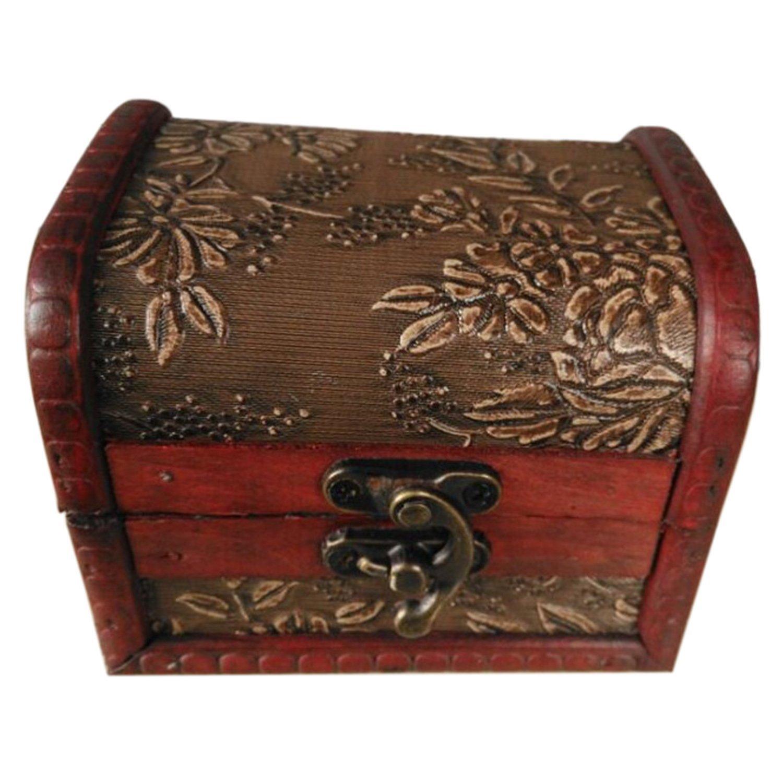 Boite a bijoux - TOOGOO(R)Style antique relief Boite a bijoux Collier en bois Bronze SODIAL(R) 061178