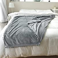 """Flannel Blanket with Pompom Fringe Throw Size Luxury Microfiber Soft Throw Couverture Douce 40"""" x 60"""" Fluffy Solid Throw…"""