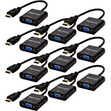 HDMI to VGA,10 Pack, Moread Gold-Plated HDMI to VGA Adapter (Male to Female) for Computer, Desktop, Laptop, PC, Monitor, Projector, HDTV, Chromebook, Raspberry Pi, Roku, Xbox and More - Black