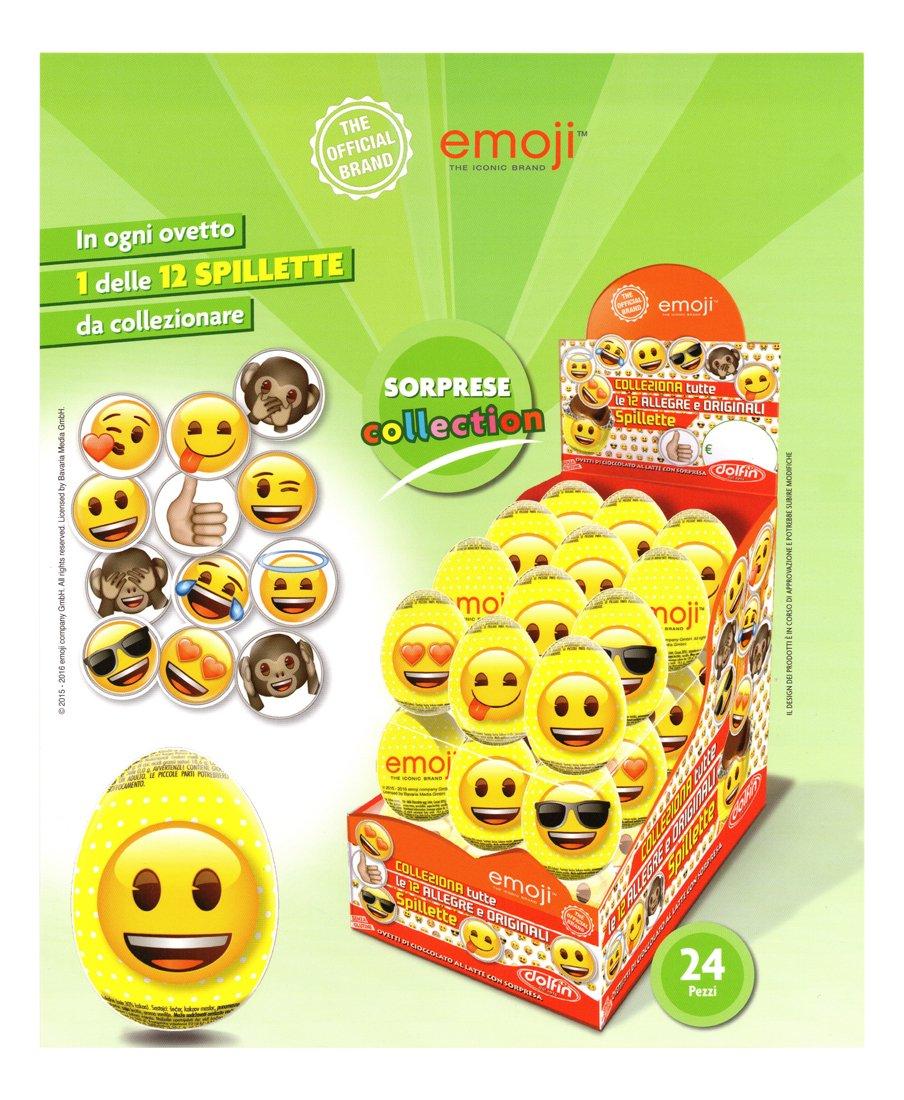 Dolfin Emoji, Ovetti Emoji di cioccolato finissimo al latte con Tante Sorprese da Collezionare