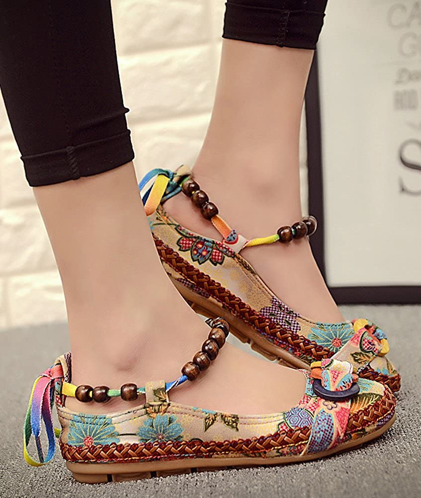 Minetom Femme /Ét/é Automne Confortable Toile Broderie Fleur Floral Mary Janes Chaussures Loafer Ballerines Mocassins