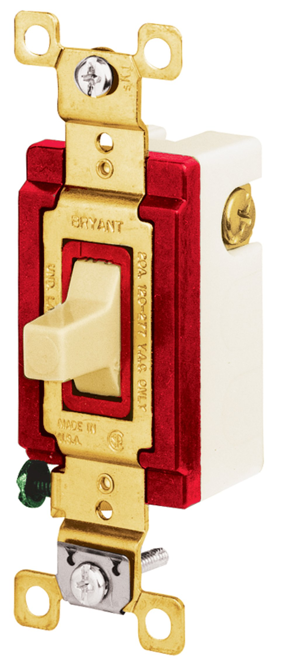 Bryant Electric 4921I Toggle Switch, Single-Pole, Double-Throw, 3-Position, 2-Circuit, Momentary Contact ''Center Off'', Industrial, 20 Amp, 120/277 VAC, Ivory