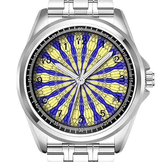 Reloj de Pulsera para Hombre, Personalizable, a la Moda, Resistente al Agua, Diamante_058.Abstracto patrón Moderno: Amazon.es: Relojes