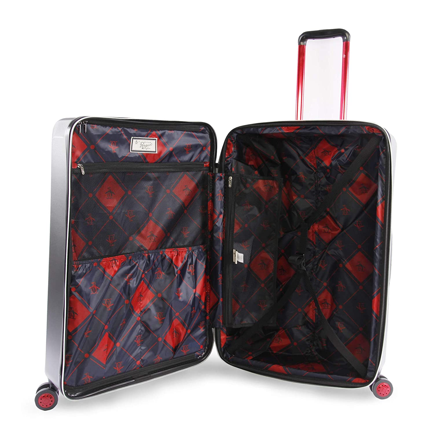 ORIGINAL PENGUIN Mens 2 Piece Hardside 8 Wheel Spinner Expandable Luggage Set Navy Original Penguin Luggage PG-ABS-1300-2