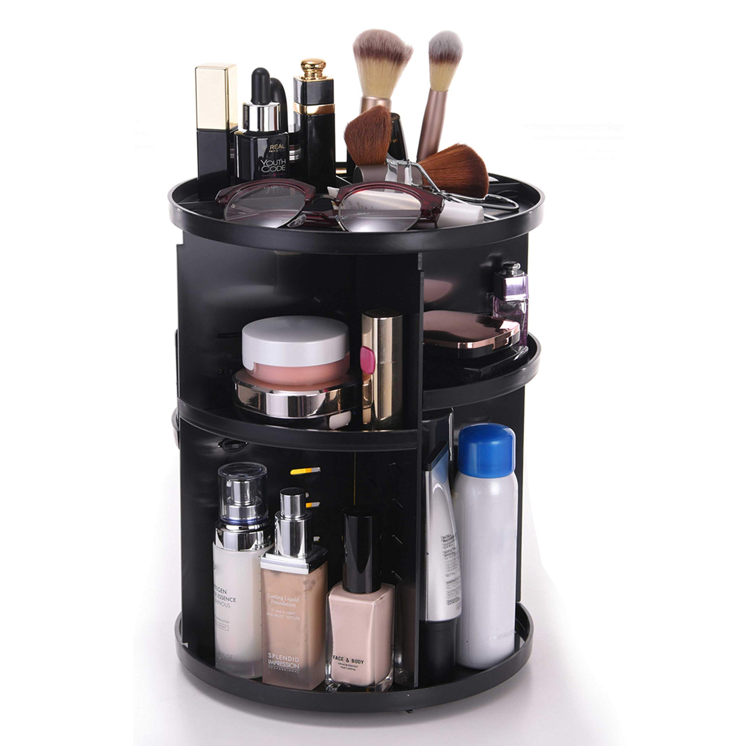 WEBI Thicken Makeup Organizer: 360̊ Rotating, Large Capacity, DIY 7-Layers Adjustable, Cosmetic Display Cases, Bathroom Storage & Organization, Vanity Countertop Beauty Holder Tray (Circle/Black)