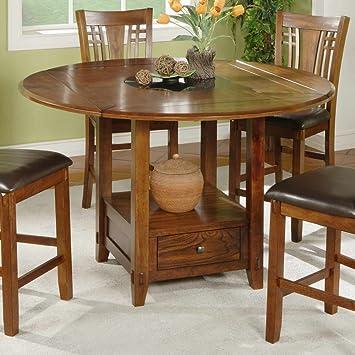 Amazon.com - Zahara Round Dining Table w Drop Leaf - Tables